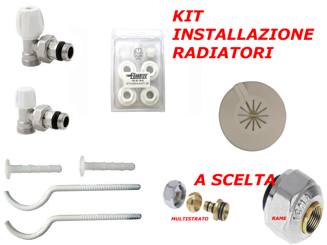 Kit installazione per radiatori termosifoni riscaldamento for Radiatori a gas argo
