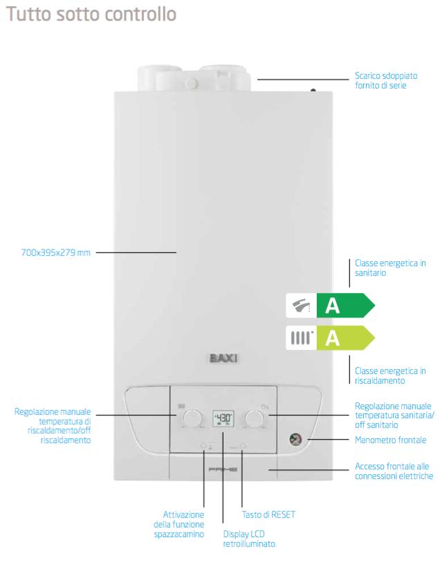 Caldaia a gas a condensazione baxi prime 24 kw erp metano for Radiatori a gas argo